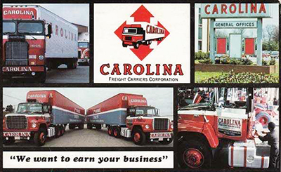 Back cover montage of the Carolina Freight Carriers Corporation Routing Guide, 1985. Image from the North Carolina Museum of History.
