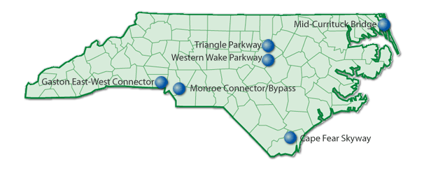 Toll facilities under consideration in 2011 in NC