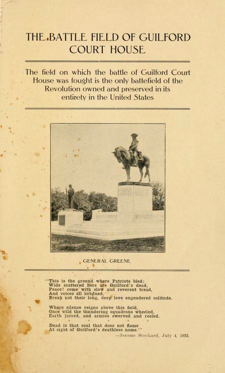 Title page from Addie Donnell Van Noppen's <i>The Battle of Guilford Court House,<i> published 1915.  Presented on Archive.org.