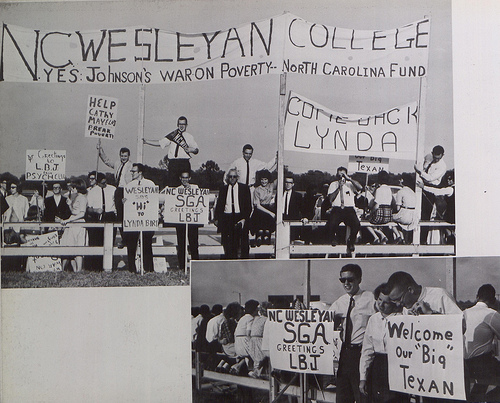"""Students greet President Lyndon B. Johnson, North Carolina Wesleyan College, 1964."" Image courtesy of North Carolina Digital Heritage Center."