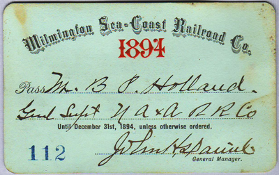 Boarding pass for the Wilmington Sea Coast Railroad, 1894. Image from North Carolina Historic Sites.