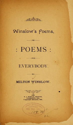 Title page from <i>Winslow's Poems,<.i> by Milton Winslow, published 1890.  Presented on Archive.org.