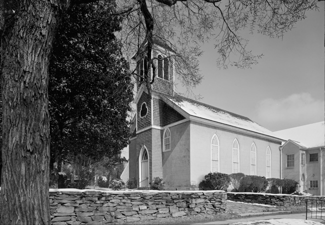Photograph of the Hillsborough Presbyterian Church, Hillsborough, NC.  From the Historic American Buildings Survey, Library of Congress Prints & Photographs Online.