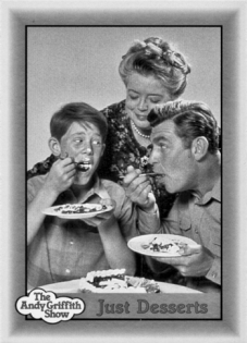Two in a series of Andy Griffith Show trading cards produced in 1990 by Pacific Trading Cards, Inc. Pictured on the cards are (left to right) Opie (Ron Howard), Aunt Bea (Frances Bavier), Andy (Andy Griffith) and Deputy Barney Fife (Don Knotts). Pacific Trading Cards Inc.; Viacom International Inc. North Carolina Collection, University of North Carolina at Chapel Hill Library.