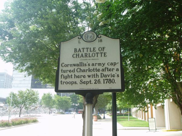 Battle of Charlotte, NC Historical Marker L-18. Image courtesy of the North Carolina Office of Archives & History.