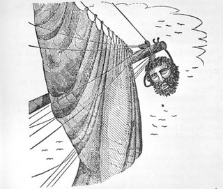 """Blackbeard's head hanging from bowsprit of ship."" From ""Dig for Pirate Treasure"" by Robert I Nesmith (New York, Crown Publishers, 1958). Copy from the General Negative Collection, North Carolina State Archives, call #: N_60_3_5 Raleigh, NC."