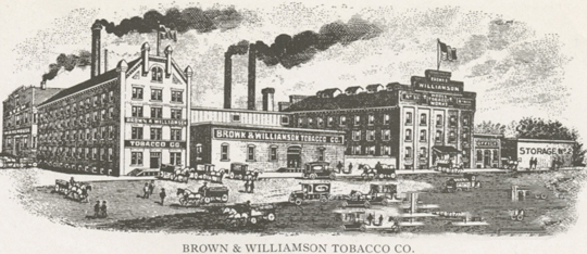 """Brown & Williamson Tobacco Company, located at 104-120 North Liberty Street, 1918."" Image courtesy of Digital Forsyth."