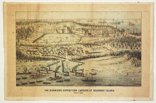 """The Burnside expedition landing at Roanoke Island - February 7th 1862."" Courtesy of Library of Congress."