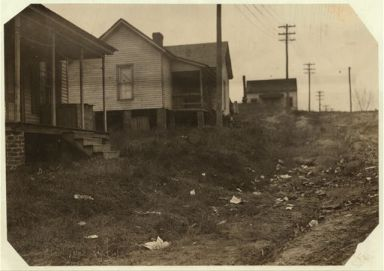 "Some of the housing conditions of the workers in the Cannon Mills to contrast with the homes and gardens some times shown from the ""show mills"" of the state, 1912. Image courtesy of Library of Congress."