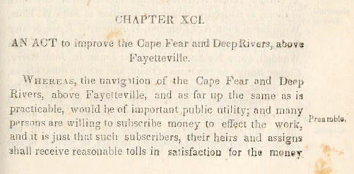 Beginning snippet of the Cape Fear and Deep River Navigatio Acts