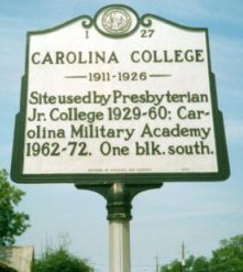 Carolina College, NC Historical Marker I-27. Image courtesy of the North Carolina State Archives.