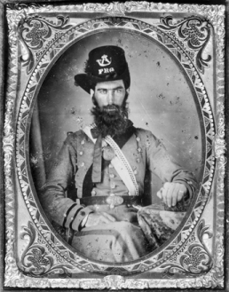 Tintype (with image reversed for correct orientation) of Henry Speck Harris of Bahama, a casualty at the battle of Seven Pines in Virginia, 20 May 1863. North Carolina Collection, University of North Carolina at Chapel Hill Library.