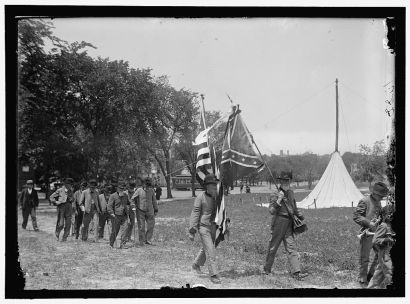 """Confederate Reunion. North Carolina Veterans with Flag."" Created by Harris & Ewing, 1917. Courtesy of Library of Congress."