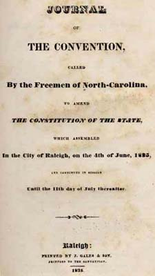 Journal of the convention to amend the constitution of the state, 1835