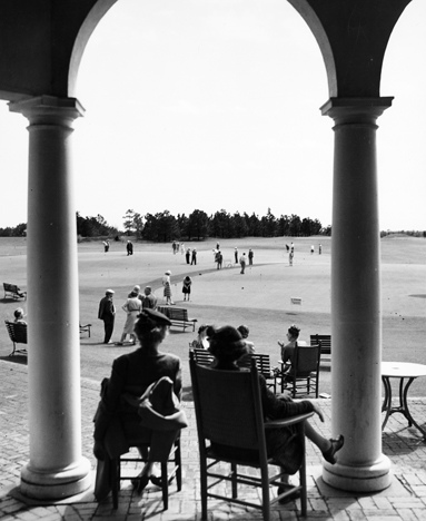 Recreation, Golf, Sandhills, NC, 1930s-1950s, possibly the Pinehurst Country Club. From Carolina Power and Light Photograph Collection, North Carolina State Archives, call #: PhC68_1_526_5.