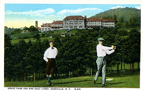 Grove Park Inn and Golf Links, Asheville, NC B-619 Asheville, NC published by Southern Post Card Co, Asheville, NC. From the Georgia Historical Society Postcard Collection, c. 1905-1960s, PhC.45, North Carolina State Archives, call #:  PhC45_1_Ash78.