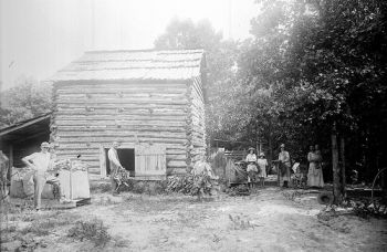 Curing tobacco. From the Barden Collection, North Carolina State Archives, call #:  N.53.16.4450.