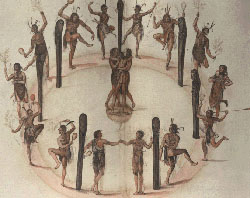 """Indians Dancing Around a Circle of Posts,"" watercolor by John White, created 1585-86."" Image courtesy of the Trustees of the London Museum."
