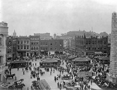Downtown Asheville, NC, Pack Square, no date (probably c.1910's-1920's). From CP&L Collection, PhC.68, North Carolina State Archives, call #:  PhC68_1_2_2.