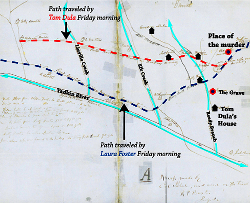 Paths walked by Tom Dula and Ann Melton, drawn over the original map drawn by Col. Isabel in the trial of Tom Dula. Courtesy of State Archives of NC.