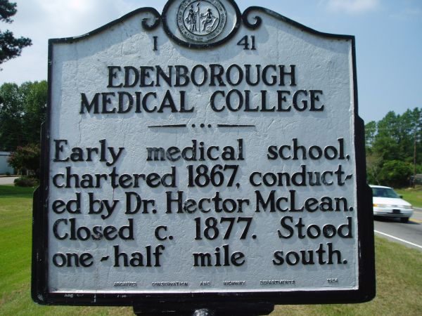 Edenborough Medical College historic marker