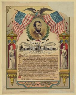 """Abraham Lincoln and his Emancipation Proclamation / The Strobridge Lith. Co., Cincinnati. "" C. 1888. Courtesy of the Library of Congress."