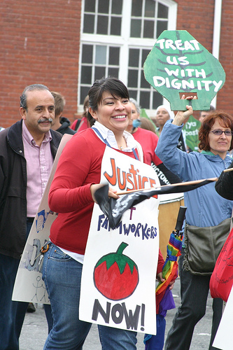 """ FLOC (Farm Labor Organzing Committee) rally at an RJ Reynolds shareholders' meeting in Winston Salem, May 6, 2009."" Image courtesy of Barb Howe."