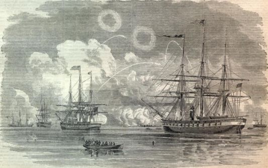 """Bombardment of Forts Hatteras and Clark by the United States Fleet, under flag-officer Stringham, U.S.N."" Harper's Weekly, September 14, 1961."
