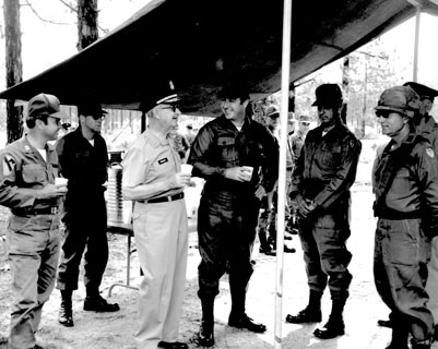North Carolina Governor Bob Scott at Fort Bragg, c.1972. From the General Negative Collection, North Carolina State Archives, call #  N_72_12_209,  Raleigh, NC.
