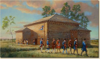 Illustration of Fort Dobbs during the French and Indian War. Image courtesy of Friends of Fort Dobbs