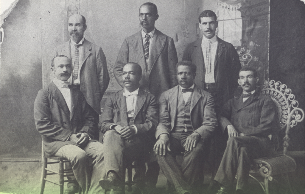 "(click to view larger). ""Portrait of some of the Founders of Mechanics & Farmers Bank, Durham, NC."""