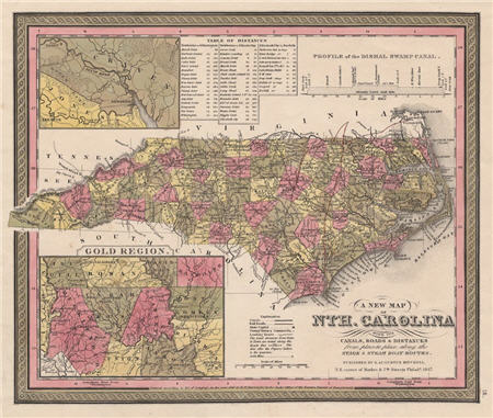 Map of North Carolina showing the gold regions, 1847.