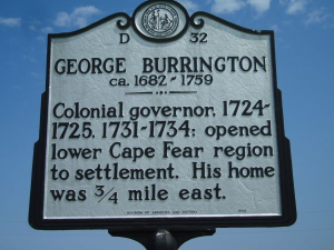 Governor George Burrington NC historical marker.