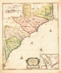 A map of North Carolina as it appeared to European colonizers at the time of Gibbs' leadership.