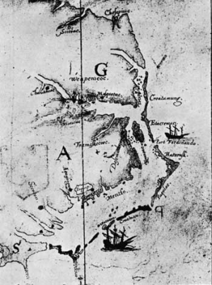 """Map made by John White, 1585-86, showing the relationship of Roanoke Island, Dasamonquepeuc, Port Ferdinando, Croatoan, and Hatoraske."" --- National Park Service. (Fort Raleigh National Historic Site)"