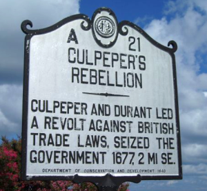 John Harvey became governor following Culpeper's Rebellion.