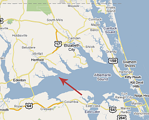 Jarvis's land, near the Perquimans River and Albemarle Sound, was locted in an area that became known as Harveys Neck (present-day Harvey Point in Perquimans County).