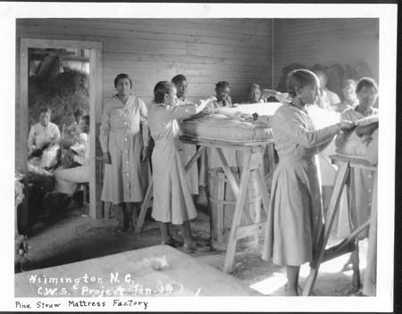"Emergency Relief Administration. 1934. ""Women making mattresses in Wilmington in 1934."" NCERA Photographs 1934-1936. State Archives of North Carolina. Box 144."