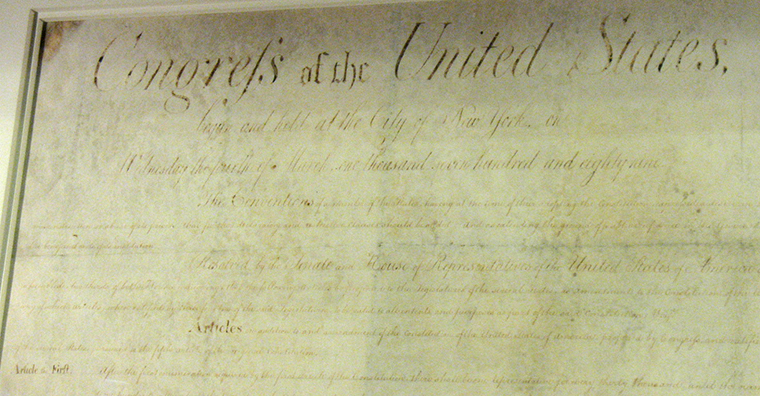 North Carolina's original copy of the Bill of Rights, 2013. Photograph by T. Mike Childs.