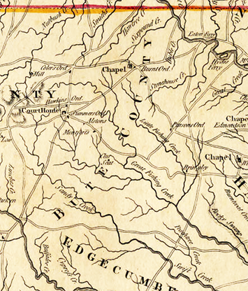 Bute County from a 1775 map of North Carolina. Image from North Carolina Maps.
