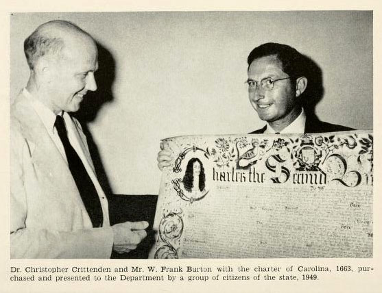 Photograph of Dr. Christopher Crittenden and Mr. Frank Burton with the Charter of Carolina, 1663.  From the <i>Twenty-Third Biennial Report of the North Carolina Department of Archives and History</i>, July 1, 1948 to June 30, 1950.  Published 1950 by the North Carolina Department of Archives and History.  Presented on Archive.org.