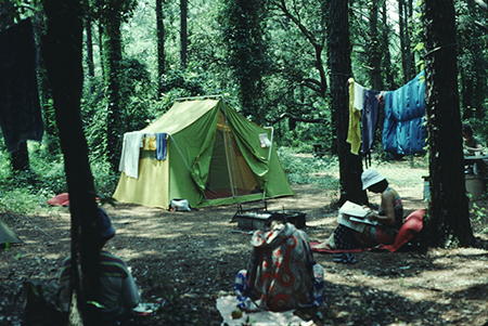 Camping at Carolina Beach State Park, July 1978. From the collection of North Carolina State Parks.