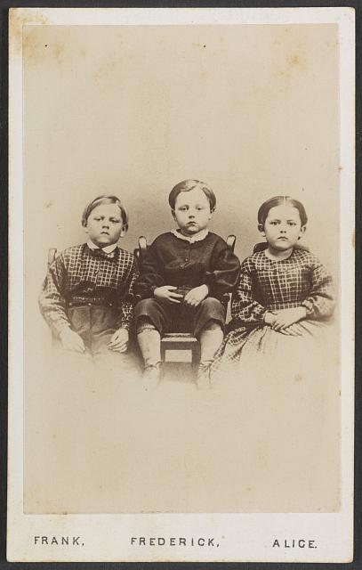 """The Children of the battlefield,"" photograph 1865, by Wenderoth, Taylor & Brown, Philadelphia.  The verso of the card states ""This is a copy of the Ferrotype found in the hands of Sergeant Humiston of the 154th N.Y Volunteers as he lay dead on the Battle Field of Gettysburg.""  Copies of the image were sold were sold as fundraising to found an orphanage in Pennslvania.  From the Liljenquist Family Collection, Library of Congress."