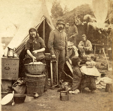 Tent life of the 31st Pennsylvania Regiment.  Photograph, created ca. 1865, by E. & H. T. Anthony.  Civil War Collection, Library of Congress.