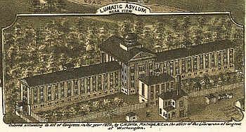 "Dix Hospital, Raleigh, labeled ""Lunatic Asylum."" Inset illustration in C. Drie, _Bird's eye view of the city of Raleigh, North Carolina 1872._ From the"