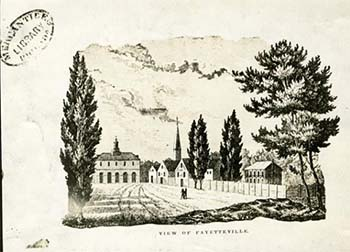 Image of Fayetteville, N.C., showing the old state house (also called the Market House or Old Town Hall) in distance. The building, along with others, burned in the Fire of 1831.  Illustration ca. early 1800s, from the collection of the N.C. Museum of History.  The original drawing on which an engraving was based was said to have been made by a passerby and given to the Marquis de Lafayette on his visit to the city in 1825.