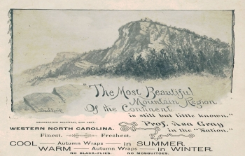 Top half of brochure for the Linville, North Carolina area, 1892 with image of the peak of Grandfather Mountain. From the collection of the North Carolina State Parks.  Used courtesy of the North Carolina Division of Parks and Recreation. Click here for full image.