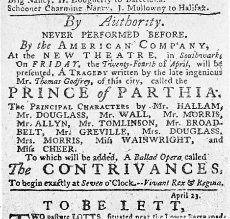 "Announcement for the performance of Thomas Godfrey's ""The Prince of Parthia,"" from the <i>Pennsylvania Journal</i>, August 23, 1767."