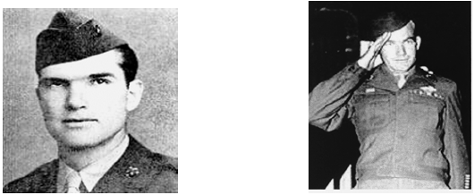 Left: William David Halyburton Jr. received the Medal of Honor after sacrificing his life to save another. Right: Max Thompson singlehandedly blocked a German breakthrough threatening his unit.