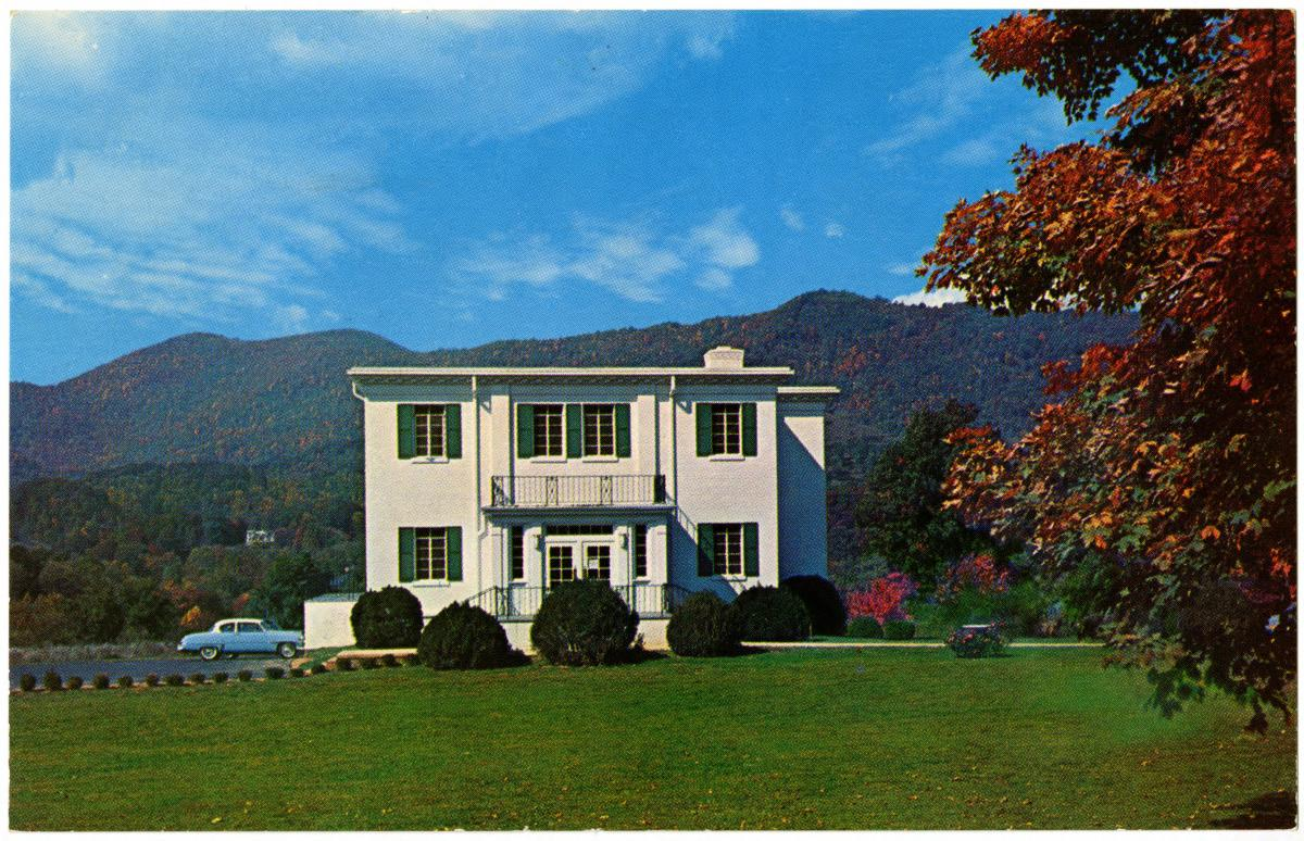 Postcard image of the Haywood County Public Library near the eastern entrance to the Great Smoky Mountains National Park, Waynesville, North Carolina.  Image circa 1955.  From the <i>Transforming the Tar Heel State</i> collection at North Carolina Digital Collections, North Carolina State Library and Archives.